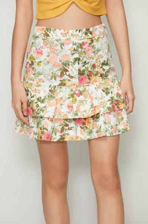 Floral Ruffle Mini Skirt