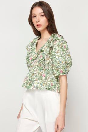 Back Tie Floral Blouse
