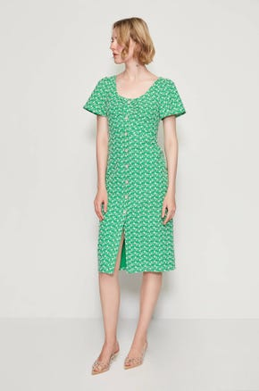Green Embroidered Midi Dress