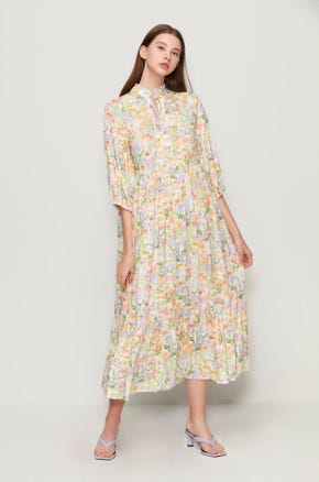Floral High Collar Dress