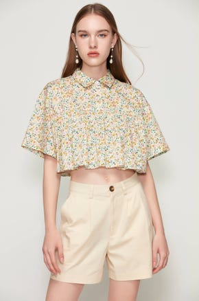 Cropped Floral Print Blouse