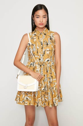 Yellow Dog Print Mini Dress
