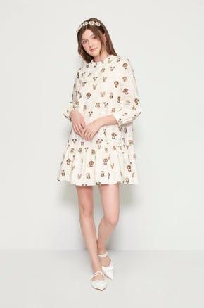 Dog Print Mini Dress