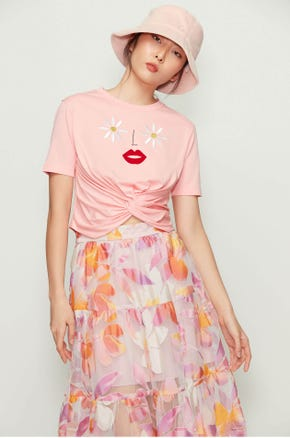 Embroidered Twist Front T-Shirt