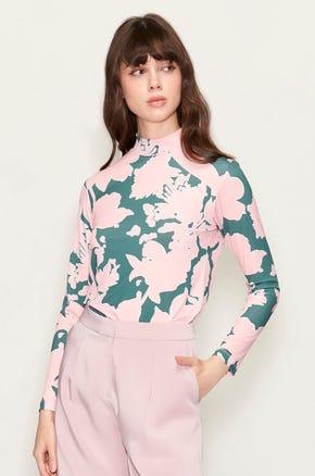 Floral Mock Neck T-Shirt