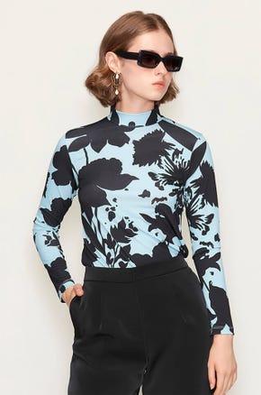 Blue Floral Mock Neck T-Shirt