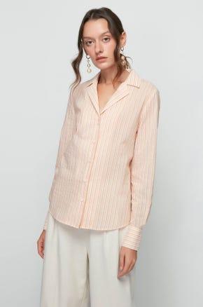 Orange Lapel Collar Shirt