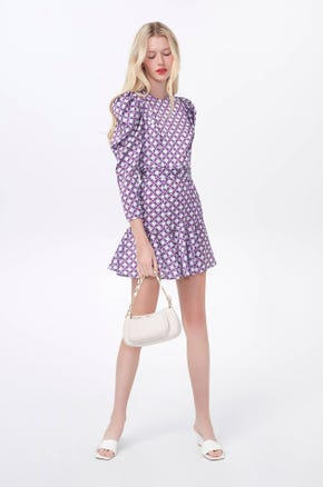 Graphic Puff Sleeve Mini Dress