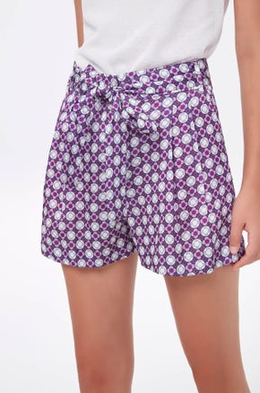 Graphic Tie Waist Shorts