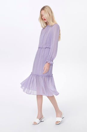 Sheer Ruffle Midi Dress