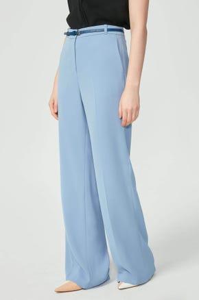 Blue Belted Wide Leg Pants