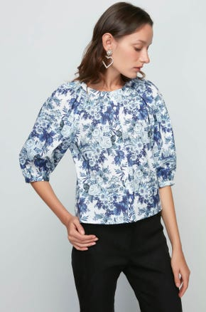 Blue Floral Blouse