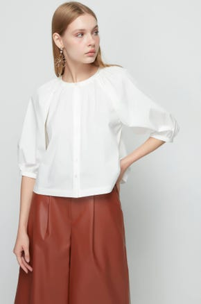 Cropped Button Up Blouse