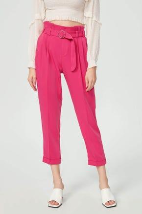 Cropped Pink Paperbag Pants