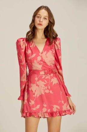 Structured Floral Mini Dress