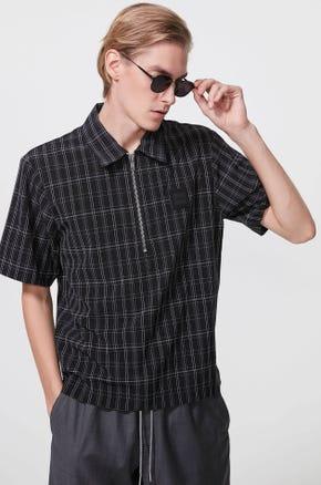 Half Zip Checked Shirt