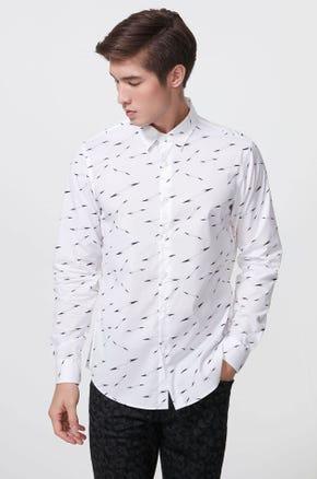 Arrow Print Stretch Poplin Shirt