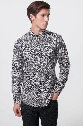 Leopard Print Stretch Poplin Shirt