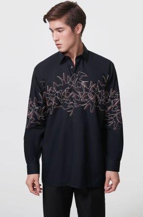 Swallow Print Poplin Shirt