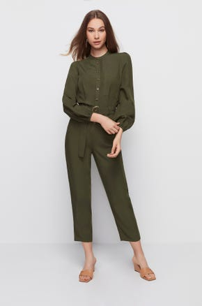 Collarless Belted Jumpsuit