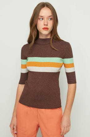 Metallic Mock Neck Sweater