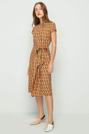 Graphic Tie Waist Dress