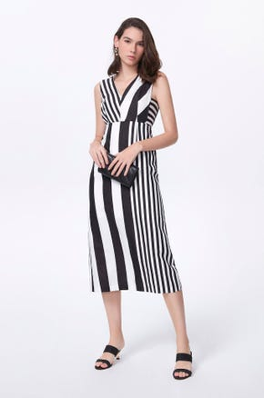 Mixed Stripe Midi Dress
