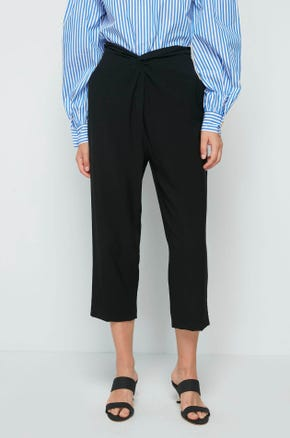 Cropped Twist Front Pants
