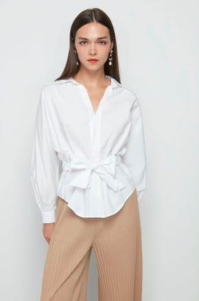White Tie Waist Blouse