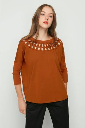 Brown Cut Out Top