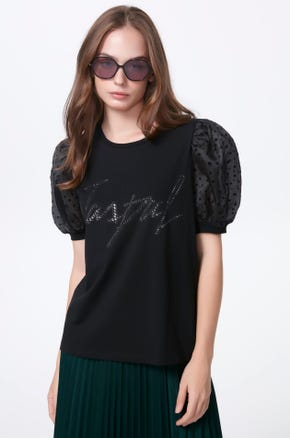 Embellished Puff Sleeve T-Shirt