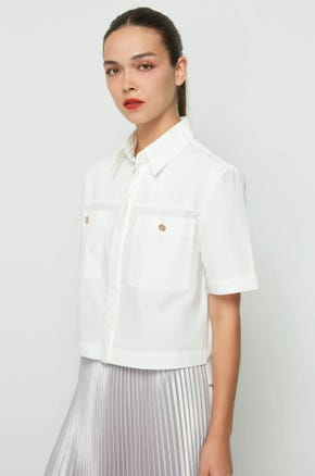 Cropped Patch Pocket Shirt