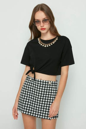 Pearl Necklace Tie T-Shirt