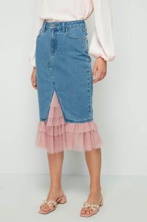 Tiered Denim Midi Skirt