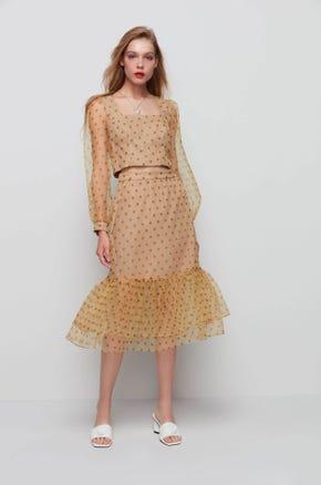 Sheer Hem Polka Dot Skirt