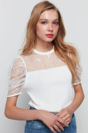 Lace Knit T-Shirt