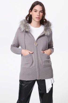 Faux Fur Trim Zip Up Sweater