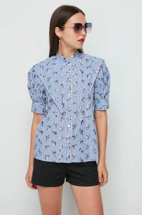 Printed Stand Collar Shirt