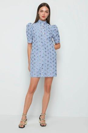 Printed High Collar Dress