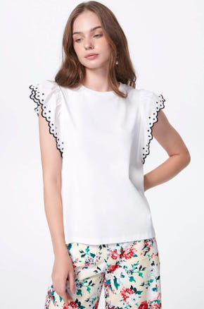 Eyelet Sleeve T-Shirt