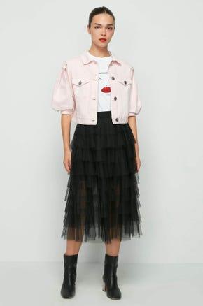 Pink Puff Sleeve Denim Jacket