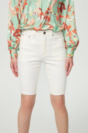 White Denim Biker Shorts