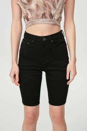 Black Denim Biker Shorts