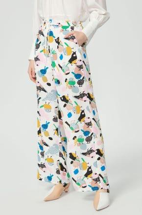 Bird Print Drawstring Pants