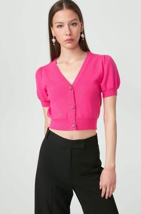 Cropped Short Sleeve Cardigan