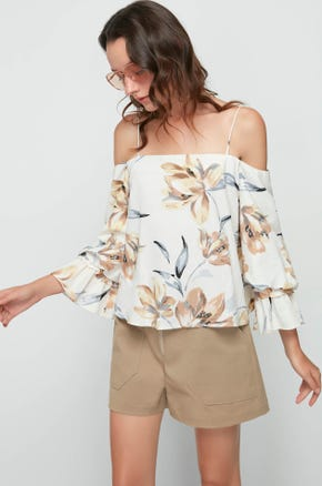 Off The Shoulder Floral Blouse