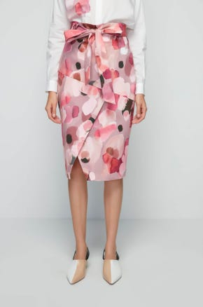 Pink Watercolor Pencil Skirt