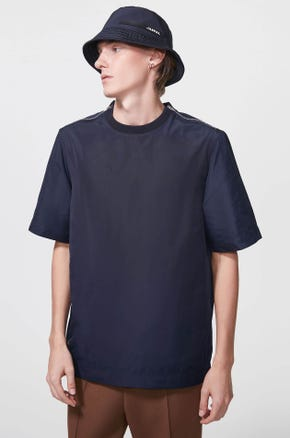 Shoulder Zip Nylon T-Shirt