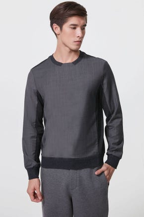Mixed Fabric Sweatshirt