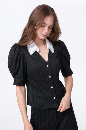 Pinstripe Puff Sleeve Blouse